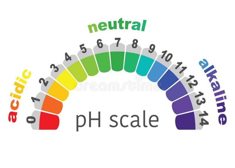 Scale of ph value for acid and alkaline solutions, or white background stock illustration