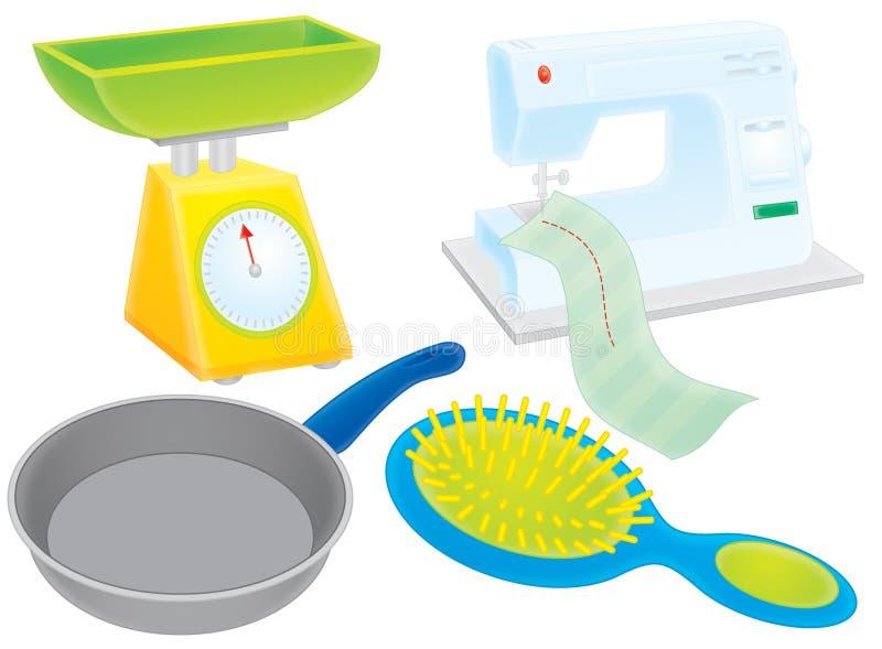 Scale, piastra, hairbrush e macchina per cucire illustrazione vettoriale