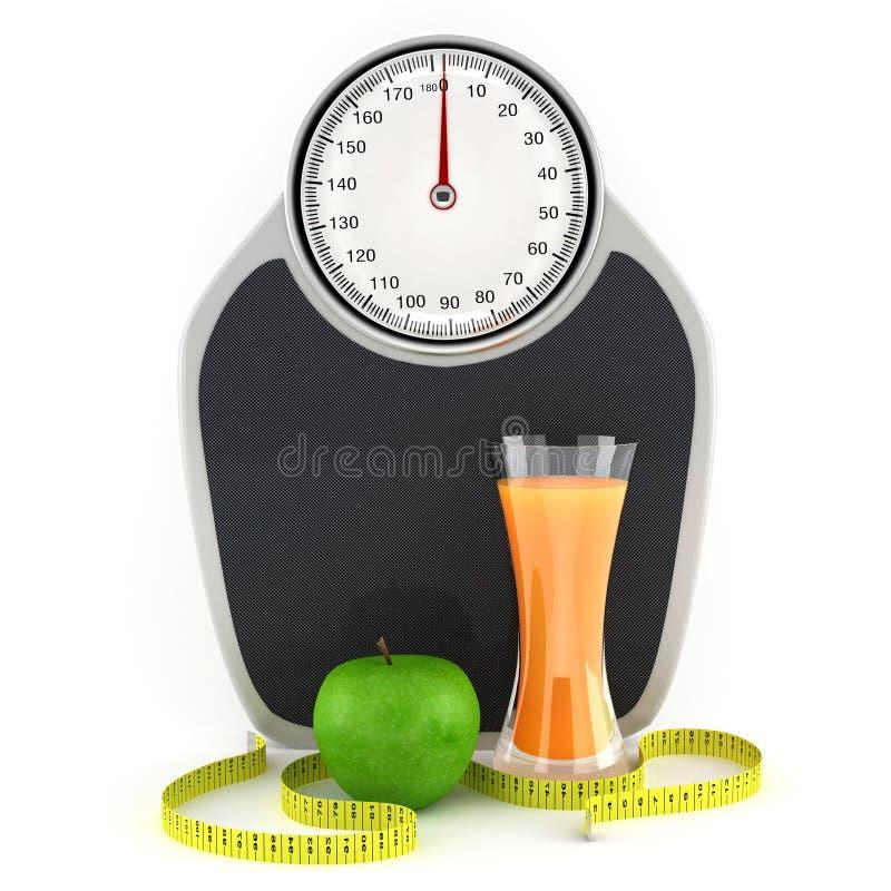 Scale, spremuta, mela e nastro di misurazione illustrazione di stock