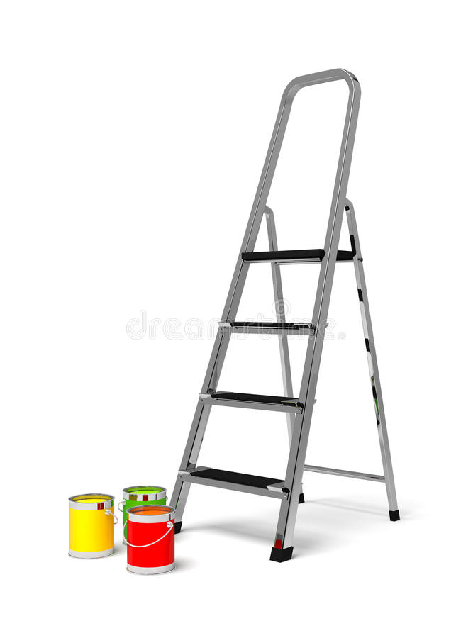 Scale stepladder e pittura del metallo royalty illustrazione gratis