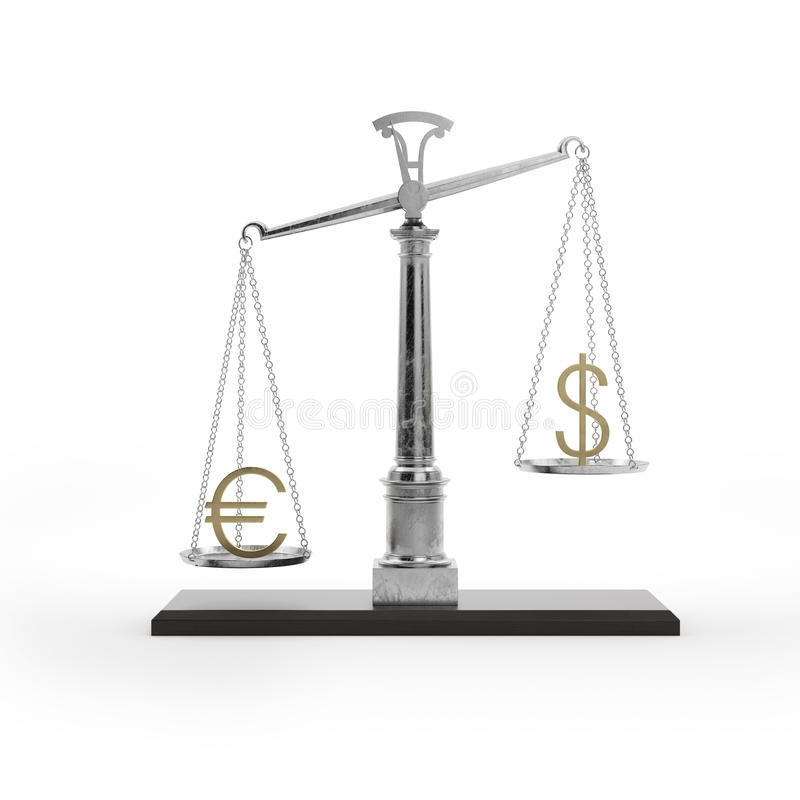 Scale with symbols of currencies. Euro vs US dollar vector illustration