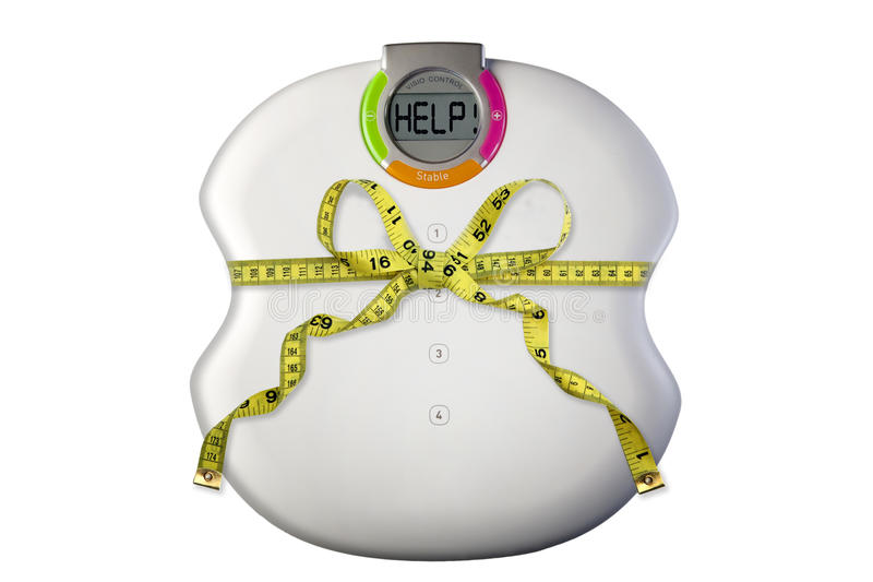 Scale with tape measure stock images