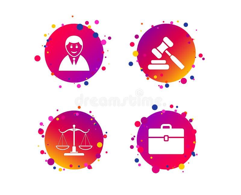 Scales av rättvisasymbolen Auktionhammare och fall vektor vektor illustrationer