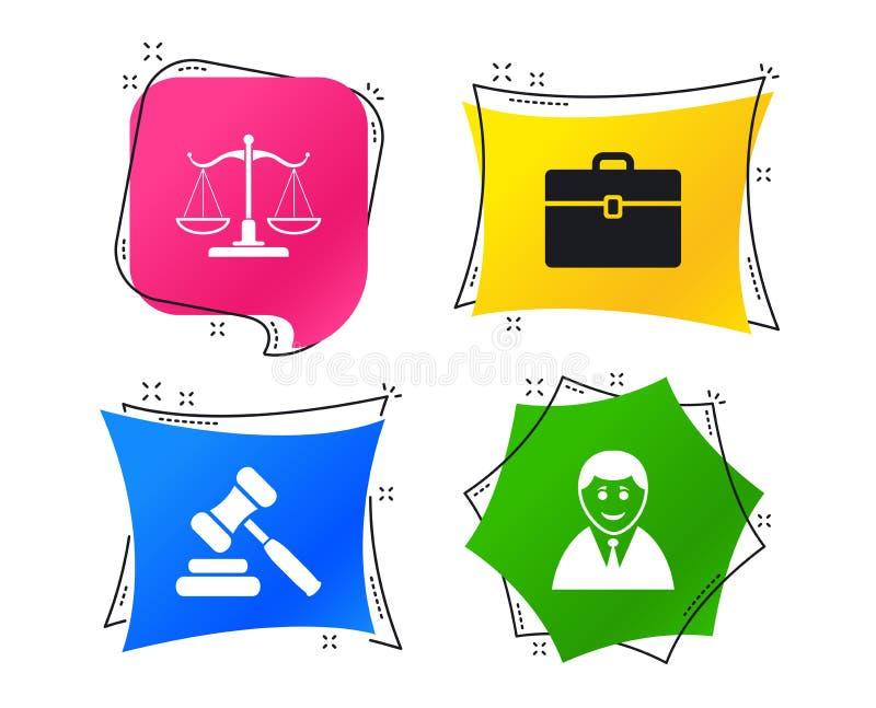 Scales av rättvisasymbolen Auktionhammare och fall vektor royaltyfri illustrationer