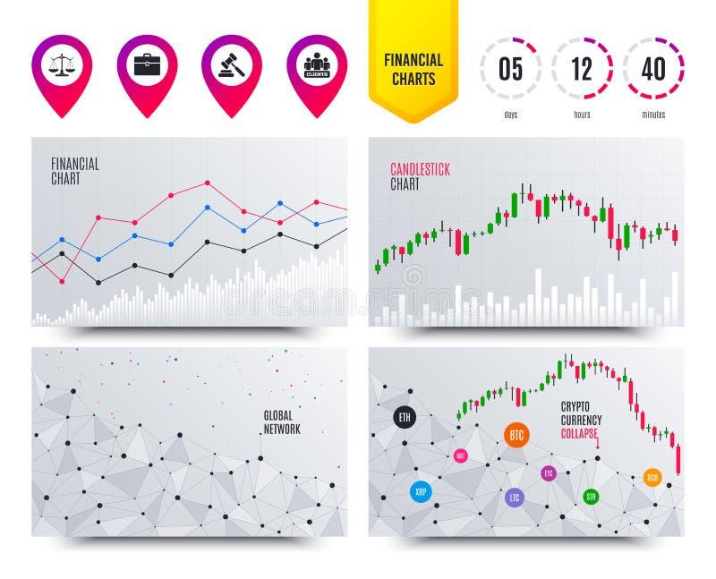 Scales av rättvisasymbolen Auktionhammare och fall vektor stock illustrationer