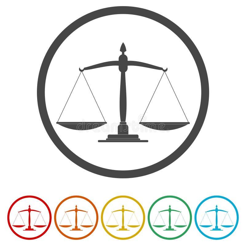Scales av rättvisasymbolen Domstolsymbol stock illustrationer