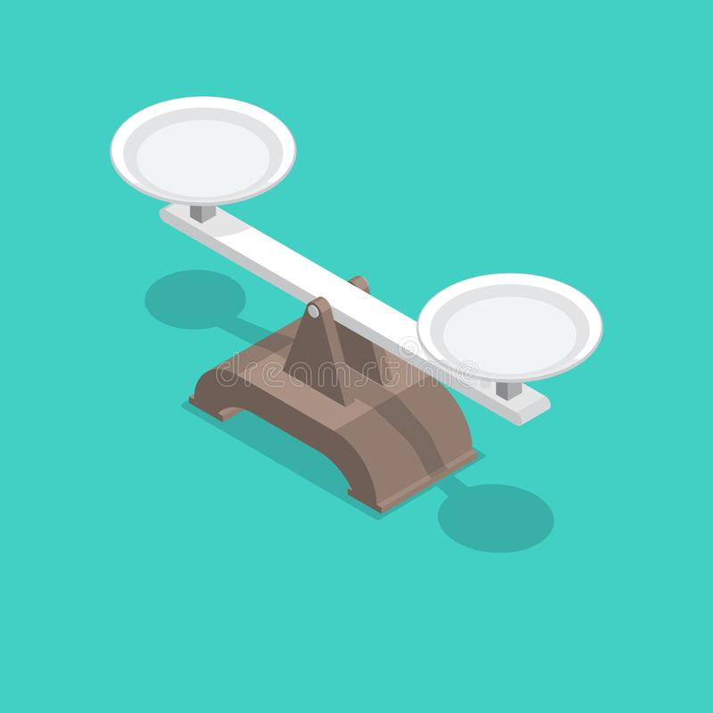 Scales with bowls and a shadow vector illustration