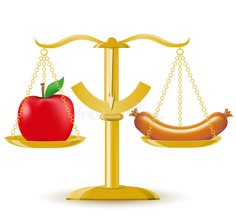 Scales choice diet or obesity royalty free illustration