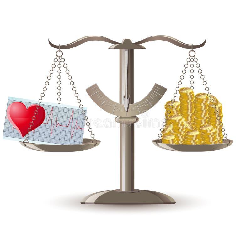 Scales choice health or money. Vector illustration vector illustration