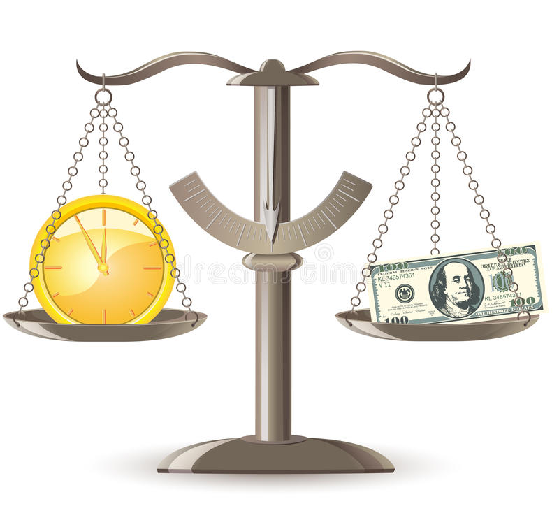 Scales Choice Time Money Stock Photography