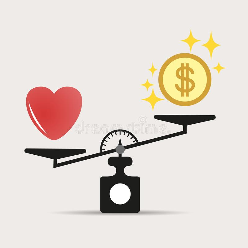 Scales comparison of money and heart. A balance between love of heart and money. Love is more valuable than money. Vector. royalty free illustration