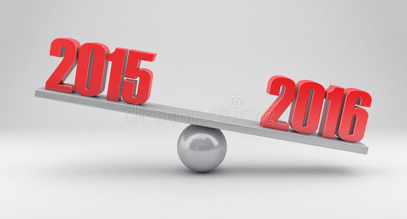 Scales with dates. Illustration of scales with dates 2015 and 2016 year vector illustration