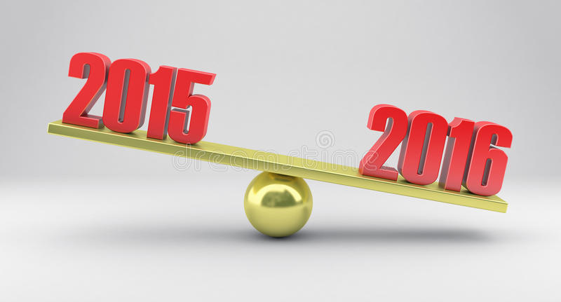 Scales with dates. Illustration of scales with dates 2015 and 2016 year royalty free illustration