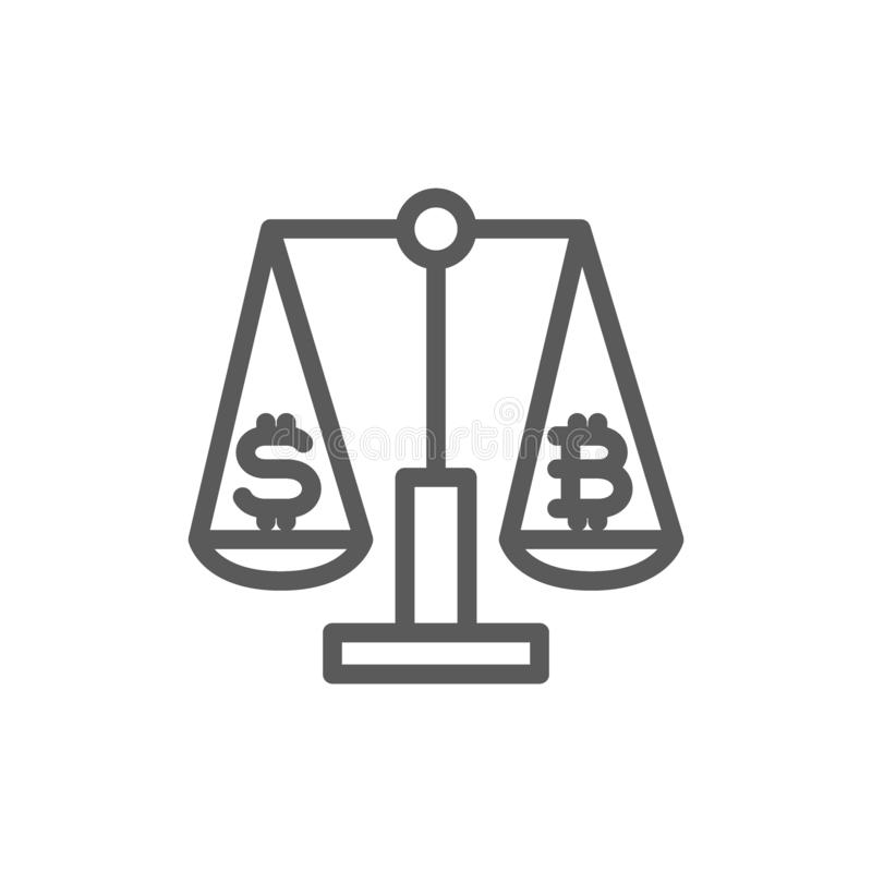 Scales with dollar and bitcoin sign, crypto coin, cryptocurrency exchange line icon. stock illustration