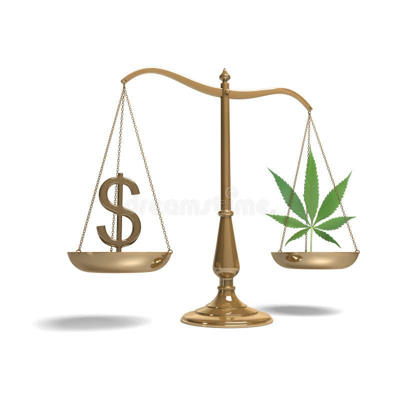 Scales with dollar symbol and marijuana stock photo