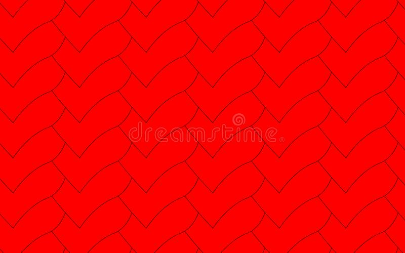 Scales in the form of red, beautiful, overlapping hearts, stock illustration