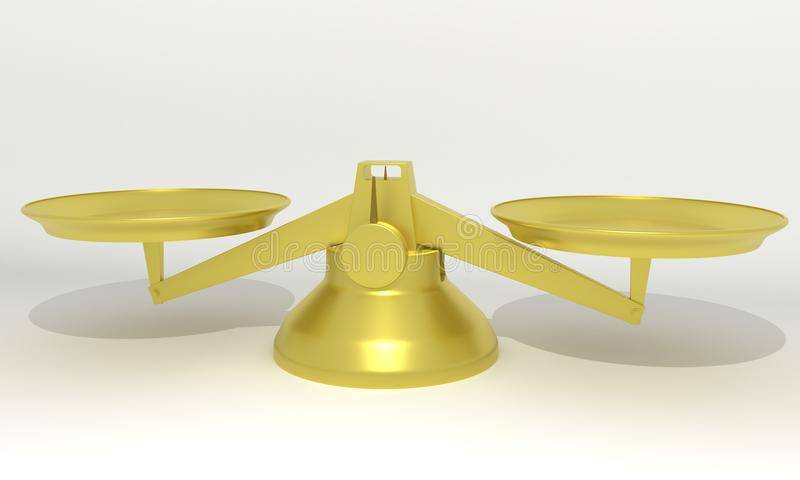 Scales gold balance, 3d r stock illustration