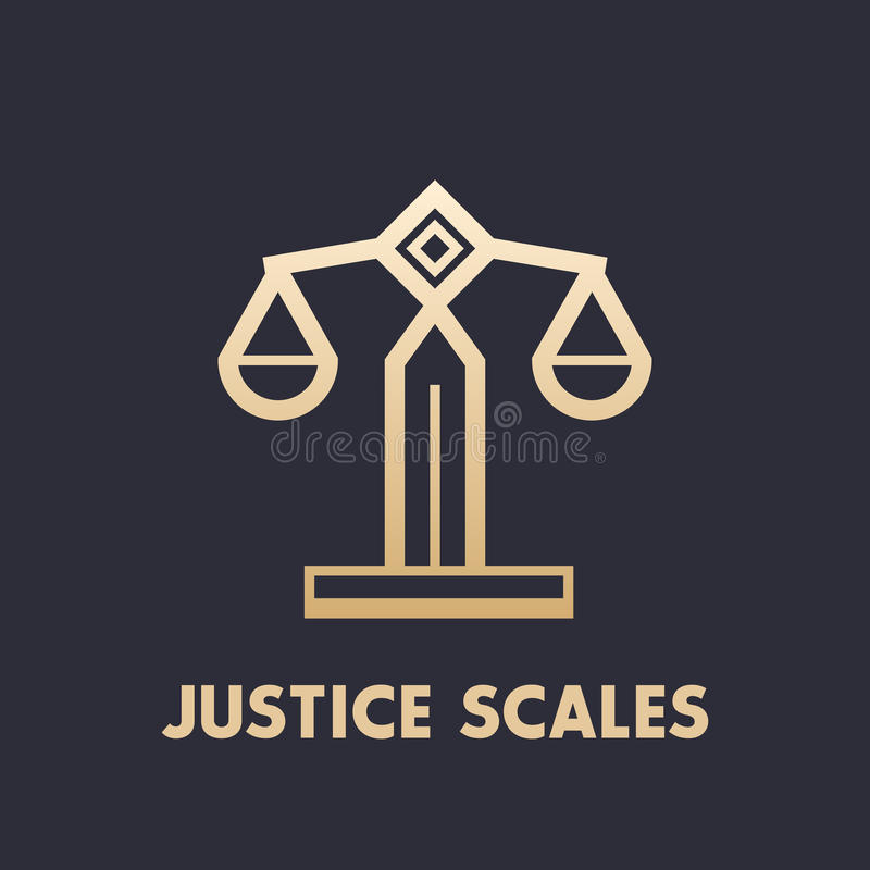 Scales icon, law firm logo element. Eps 10 file, easy to edit royalty free illustration