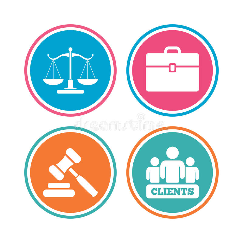 Scales of Justice icon. Auction hammer and case. royalty free illustration