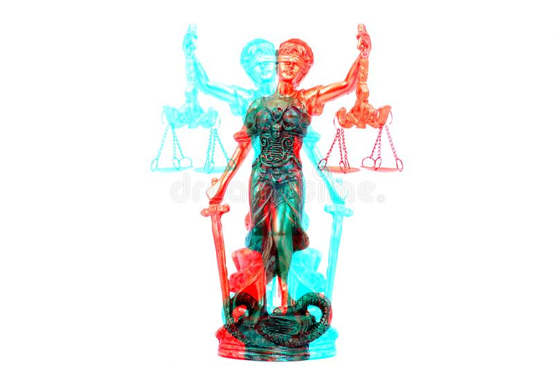Scales of Justice, Justitia, Lady Justice on the white isolated. Law and Justice, Legality concept, Scales of Justice, Justitia, Lady Justice on the white royalty free stock image