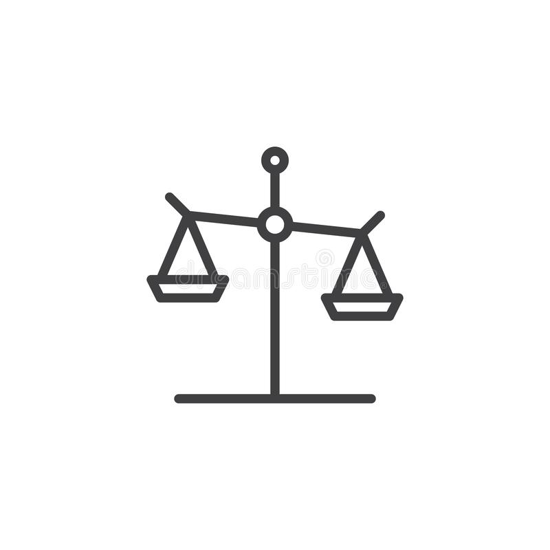 Scales of Justice line icon stock illustration