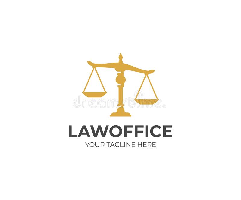 Scales of justice logo template. Law scales vector design royalty free illustration