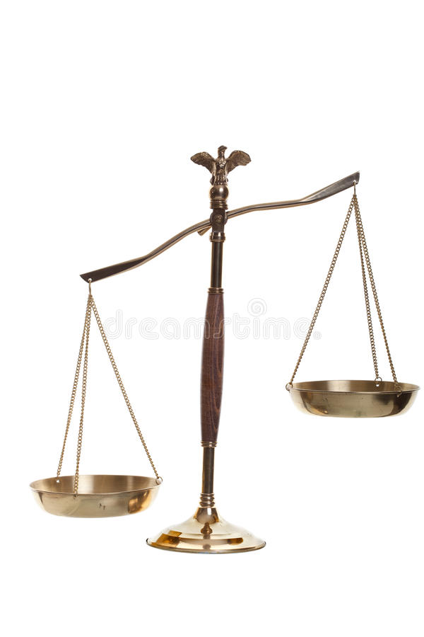 Scales of Justice. Justice scales shot on a white background stock image