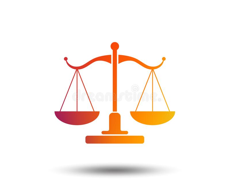 Scales of Justice sign icon. Court of law symbol. Blurred gradient design element. Vivid graphic flat icon. Vector royalty free illustration