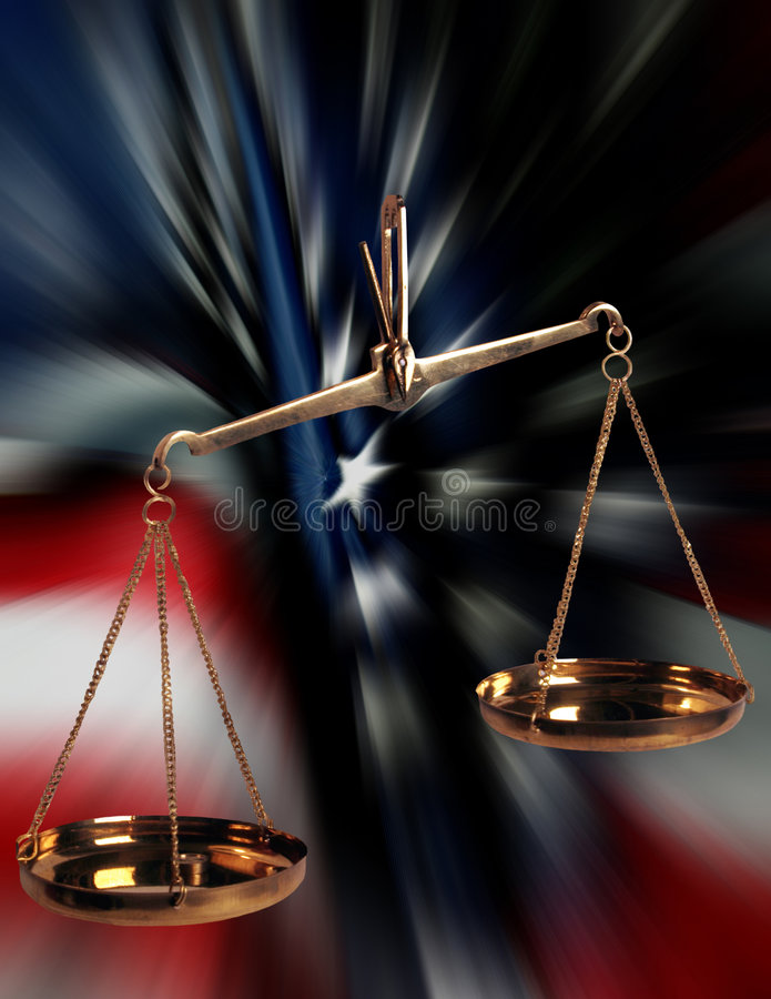 Scales Of Justice and US Flag. Weight measuring scales atop blurred American Flag. Symbolic concept image of judicial system stock images