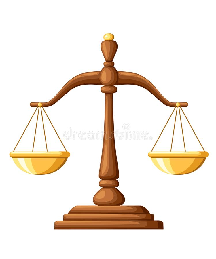 scales of justice wooden scales balance sign vector illustration rh dreamstime com