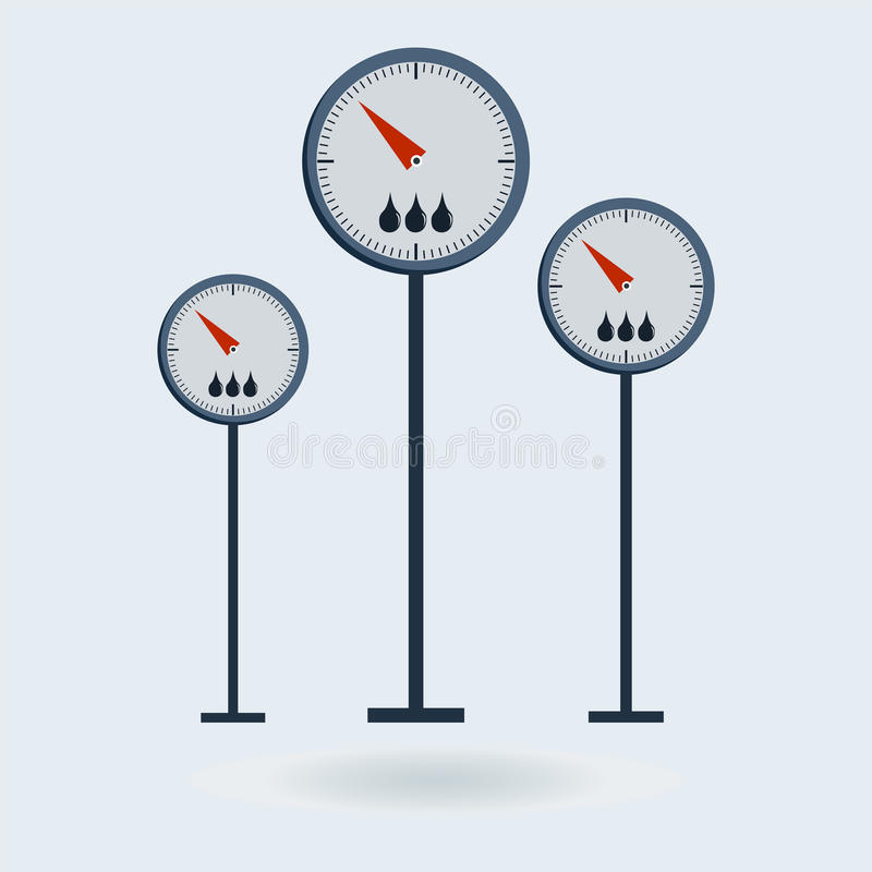 Scales of Meter Devices. Manometer, thermometer, sphygmomanometer, pressure gauge vector illustration