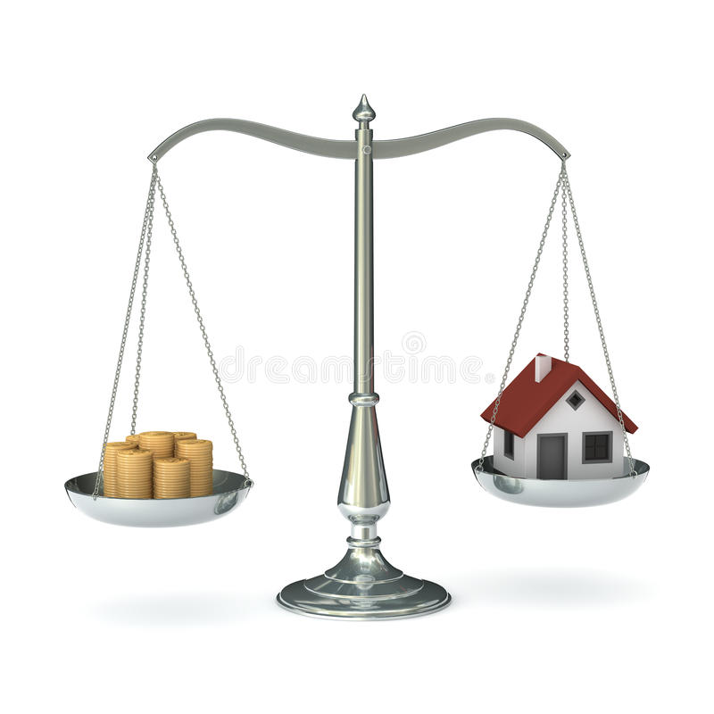 Scales money house stock illustration