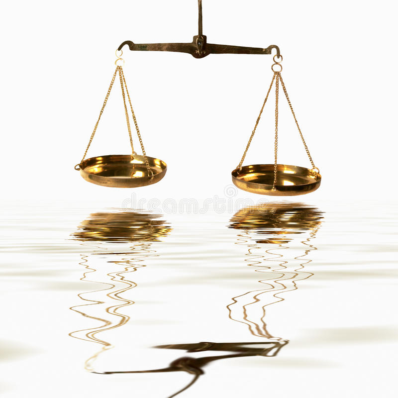 Free Scales Of Justice Over Water Royalty Free Stock Photo - 47475415