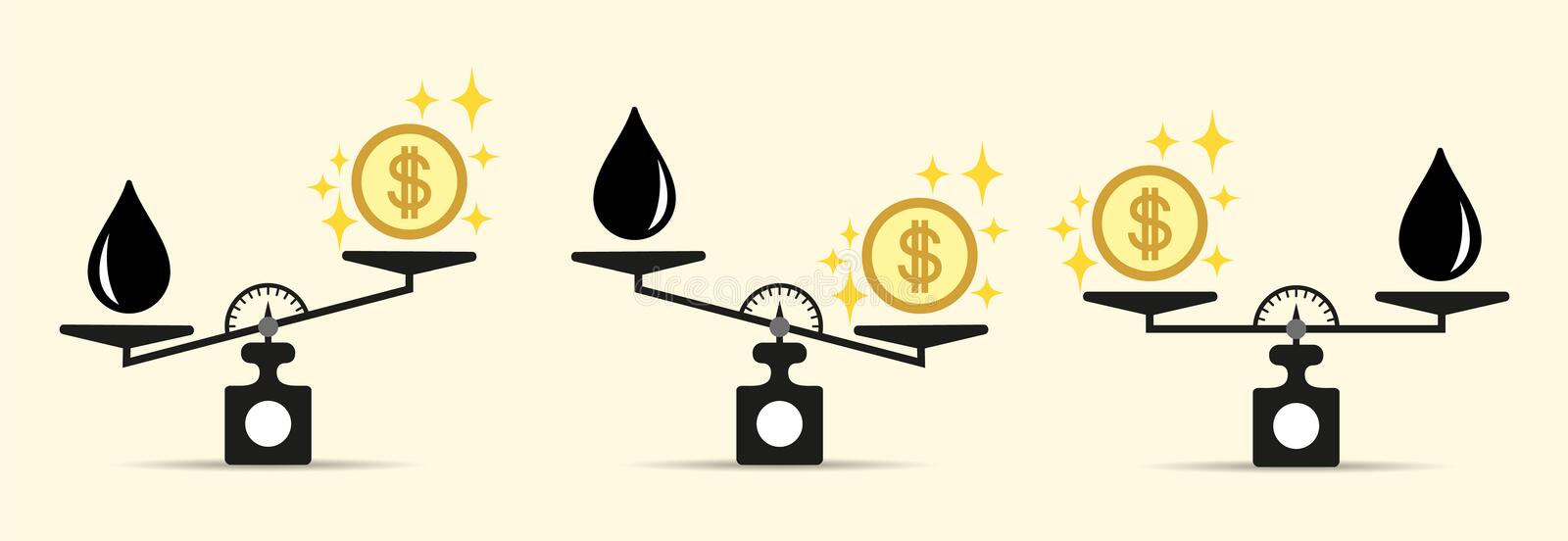 Scales, Oil product, Money or Finance. The concept of choice. Flat style. Vector illustration on isolated background. stock illustration