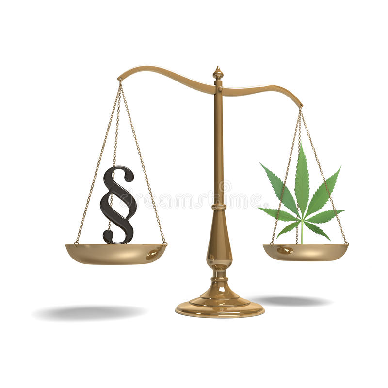 Scales with paragraph symbol and marijuana stock photography