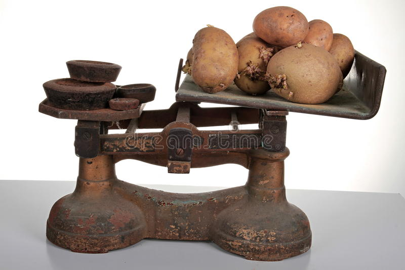 Scales with potatos. Image of an old scales with potatos on a white background stock images