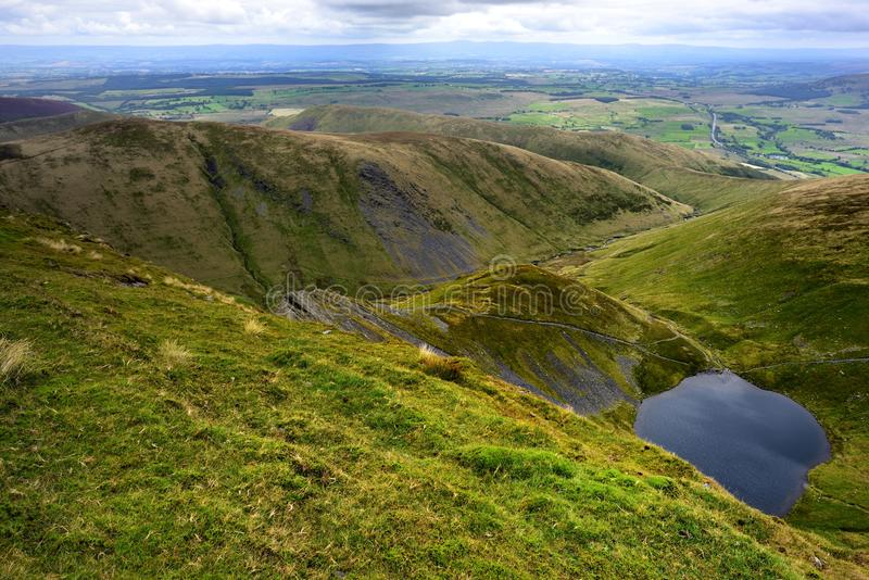 Scales Tarn from Blencathra. Foopath to Sharp Edge from Scales Tarn royalty free stock photography