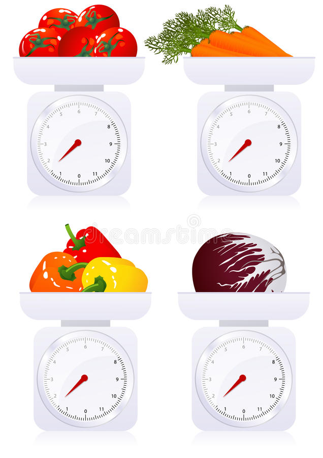 Download Scales with vegetables stock vector. Image of concepts - 14296013