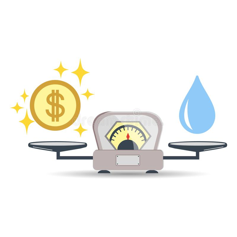 Scales, Water, Money or Finance. The concept of choice. Flat style. Vector illustration on isolated background. royalty free illustration