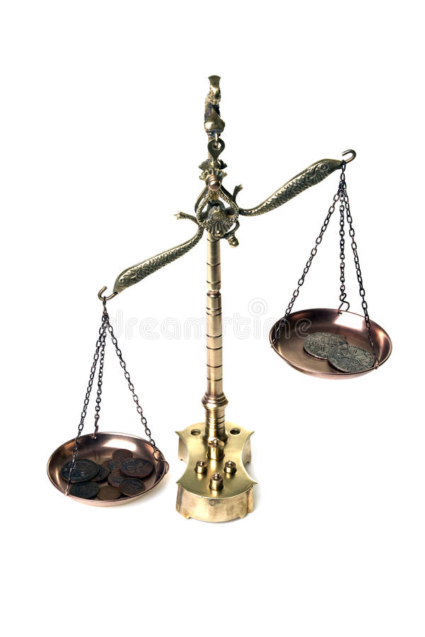 Free Scales With Coins On White Stock Image - 14647001