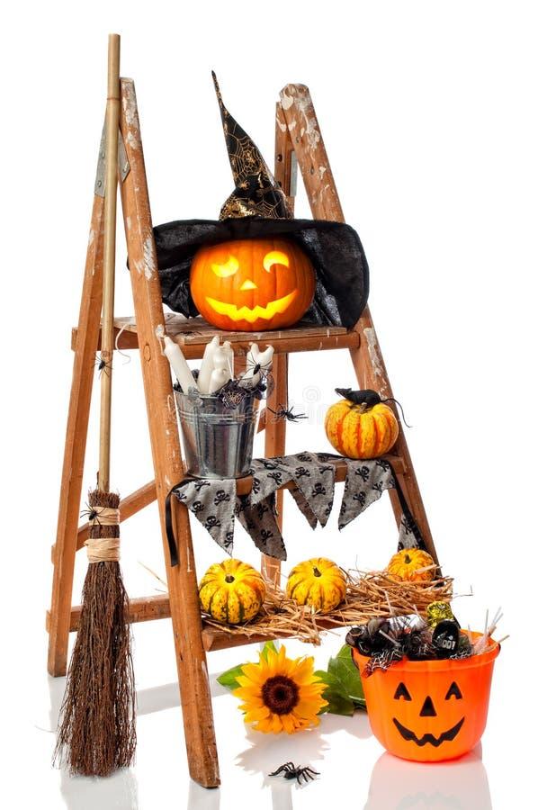 Scaletta di punto della zucca di Halloween immagine stock