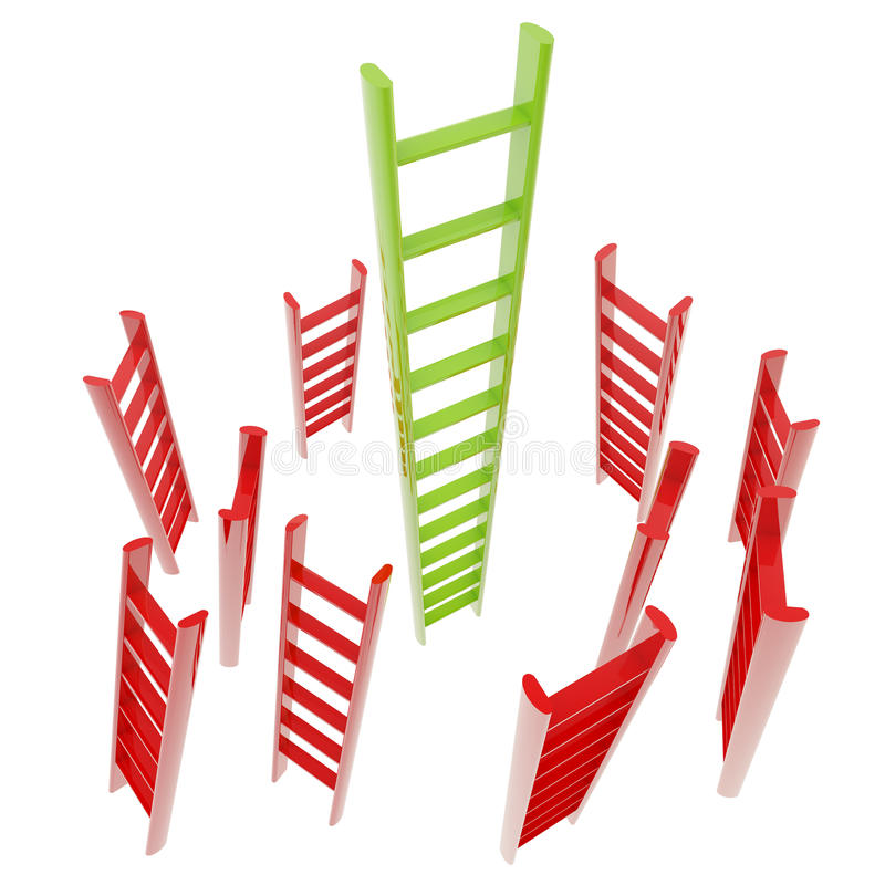 Scaletta lucida rossa e verde isolata illustrazione di stock
