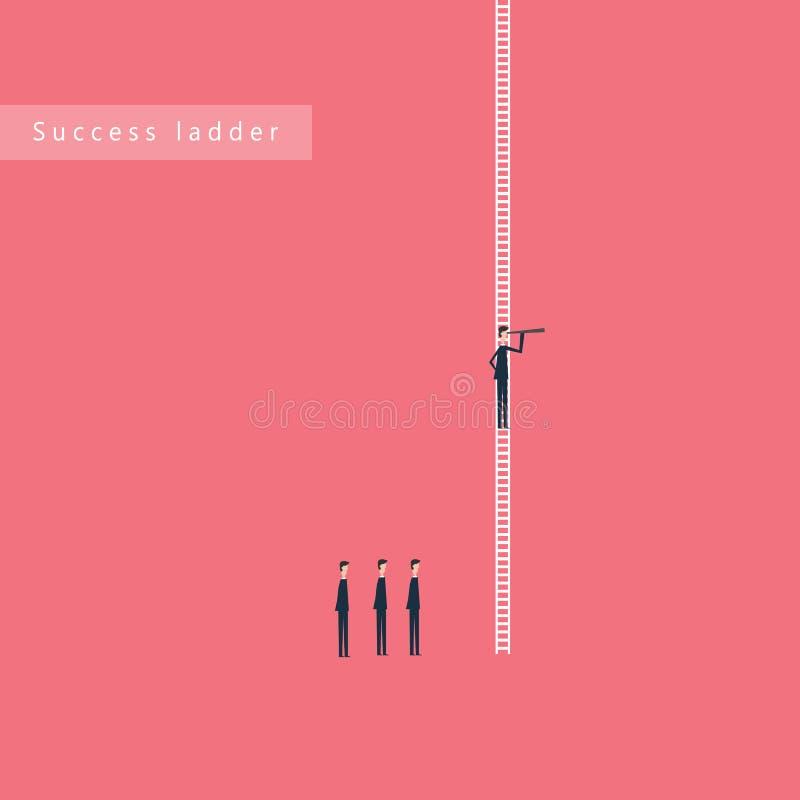 Scaletta minimalista Finanza di affari Riuscito concetto di visione con l'icona dell'uomo d'affari e del telescopio, direzione di illustrazione vettoriale