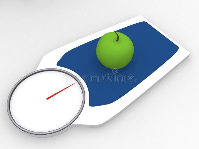 scalevikt för äpple 3d royaltyfri illustrationer