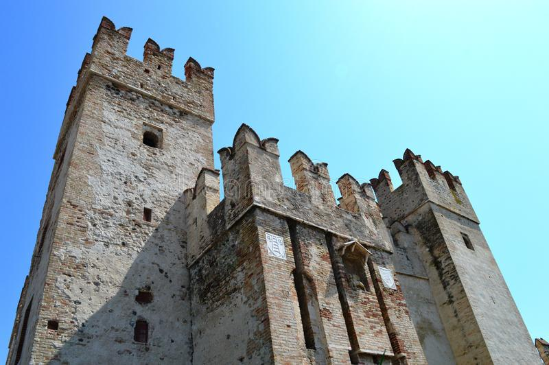 Scalidero Castle on Lake Garda. Old Scalidero Castle on Lake Garda royalty free stock photos