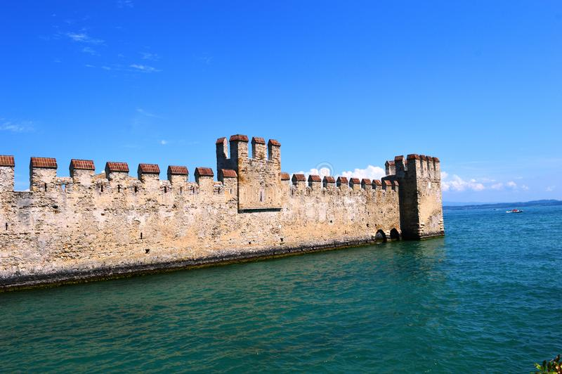Scalidero Castle on Lake Garda. Old Scalidero Castle on Lake Garda stock photography