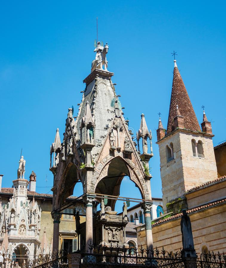 Scaliger Arches. Gothic tombstones of the representatives of the Scaliger family - rulers of Verona in the XIII-XIV centuries royalty free stock photo