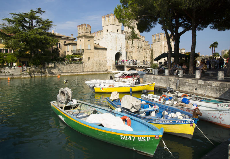 Scaliger Castle, Sirmione, Italy stock images