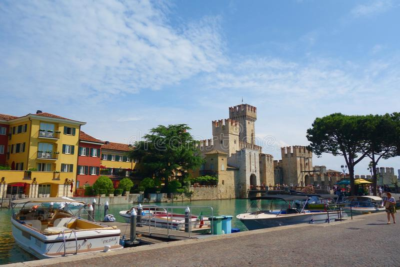 Scaliger castle in Sirmione on lake Garda located in Northern Italy near to Verona stock photo