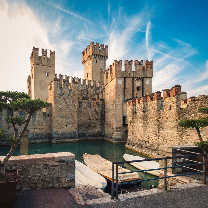 Scaliger Castle 13th century in Sirmione on Garda lake near Ve. Rona, Italy royalty free stock photos